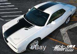 2008-2014 Dodge Challenger Solid T-hood Rally Racing Stripes Decals Over the Top