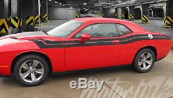 2015 2016 Dodge Challenger Fender to Side Full Racing Dual Stripes Decals