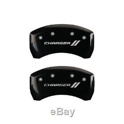 Black withStripes Caliper Covers For 2011-2019 Charger withSingle Piston by MGP