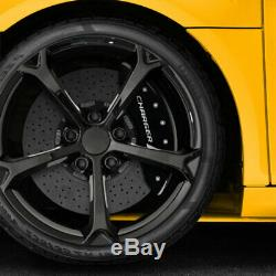 Black withStripes'Charger' Caliper Covers for 06-10 Dodge Charger SRT8 by MGP
