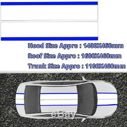 Blue White Stripe Roof Trunk Deco Stickers Universal Vinyl Racing Decal 2A