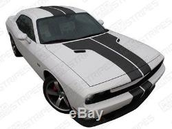 Dodge Challenger 2008-2014 Rally Double T-Stripes Decals (Choose Color)