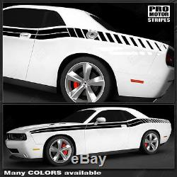 Dodge Challenger 2008-2019 Double Stripes with Strobe Side Decals (Choose Color)