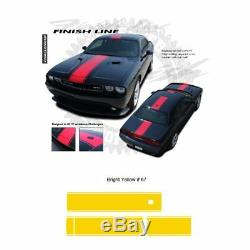 Dodge Challenger 2011+ with XM Antenna Center Stripes Graphic Kit Bright Yellow
