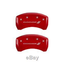 MGP 4 Caliper Covers Engraved Front & Rear With for stripes/Dodge Red finish sil