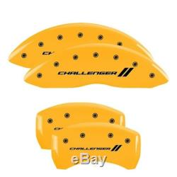 MGP 4 Caliper Covers Engraved Front & Rear With stripes/Challenger Yellow finish