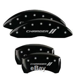 MGP 4 Caliper Covers Engraved Front & Rear With stripes/Charger Black finish sil