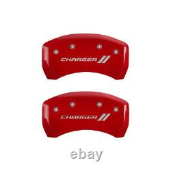 MGP 4 Caliper Covers Engraved Front & Rear With stripes/Charger Red finish silve