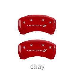 MGP 4 Caliper Covers Engraved Front & Rear With stripes/ for Dodge Red finish si