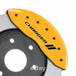 MGP Caliper Covers withStripes for 2011-2018 Dodge Charger withDual Piston-Yellow