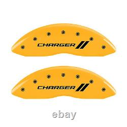 MGP Caliper Covers withStripes for 2011-2020 Dodge Charger withDual Piston-Yellow