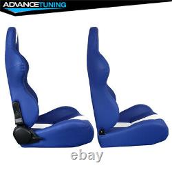 Reclinable Pair Racing Seats + Dual Sliders Blue PU Leather White Stripe