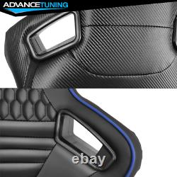 Reclinable Pair Racing Seats + Dual Sliders PU&Carbon Leather Blue Stripe