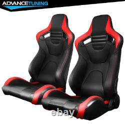 Reclinable Pair Racing Seats + Dual Sliders PU&Carbon Leather Red Stripe