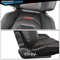 Reclinable Pair Racing Seats + Dual Sliders PU Carbon Leather Red Stripe