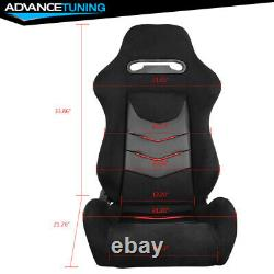 Reclinable Pair Racing Seats + Dual Sliders PU Leather&Suede Red Stripe