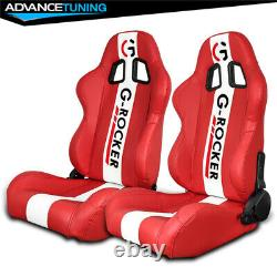 Reclinable Pair Racing Seats + Dual Sliders Red PU Leather White Stripe