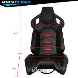 Reclinable Racing Seat + Dual Slider Left Driver PU Carbon Leather Red Stripe