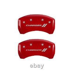 Red MGP Caliper Covers withStripes fits 2011-2020 Dodge Charger withDual Piston
