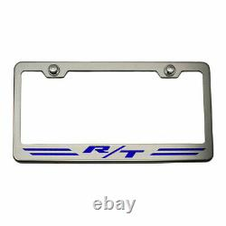 Striped Plate Frame Dark Blue R/T Inlay for Dodge Challenger/Charger Brushed