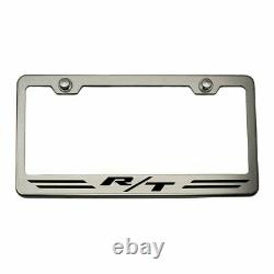 Striped Plate Frame HEMI Orange R/T Inlay for Dodge Challenger/Charger Brushed