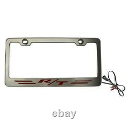 Striped Plate Frame withBlue LED R/T Logo for Challenger/Charger Steel/Brushed