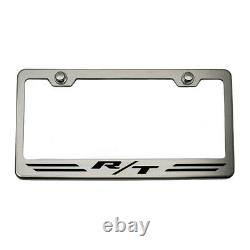 Striped Plate Frame withOrange Carbon Fiber R/T Inlay for Dodge Challenger/Charger