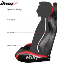 Universal Pair Reclinable Racing Seat Dual Slider PU&Carbon Leather Red Stripe