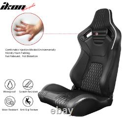 Universal Pair Reclinable Racing Seat Dual Slider PU&Carbon Leather White Stripe