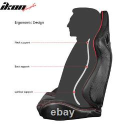 Universal Pair Reclinable Racing Seat Dual Slider PU&Carbon Leather withRed Stripe