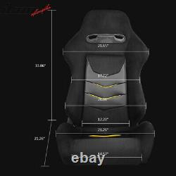 Universal Pair Reclinable Racing Seat Dual Slider PU Leather&Suede Yellow Stripe