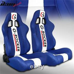 Universal Pair Reclinable Racing Seat Dual Sliders Blue PU Leather White Stripe