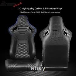 Universal Pair Reclinable Racing Seats Dual Slider PU&Carbon Leather Blue Stripe
