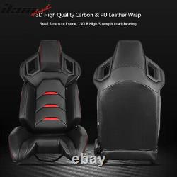 Universal Pair Reclinable Racing Seats Dual Sliders PU Carbon Leather Red Stripe