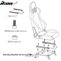 Universal Pair Reclinable Racing Seats Dual Sliders Red PU Leather White Stripe