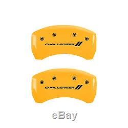 Yellow MGP Caliper Covers withStripes for 2011-2016 Dodge Challenger SE/SXT