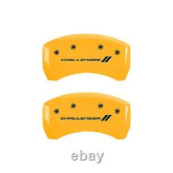 Yellow withStripes Caliper Covers for 09-10 Dodge Challenger SE 3.5L V6 by MGP