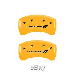 Yellow withStripes Caliper Covers for 2011-2020 Charger withSingle Piston by MGP