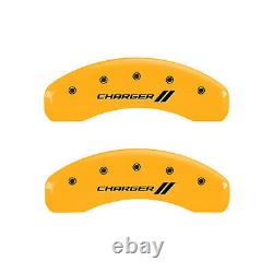 Yellow withStripes'Charger' Caliper Covers for 2006-14 Dodge Charger SRT8 by MGP